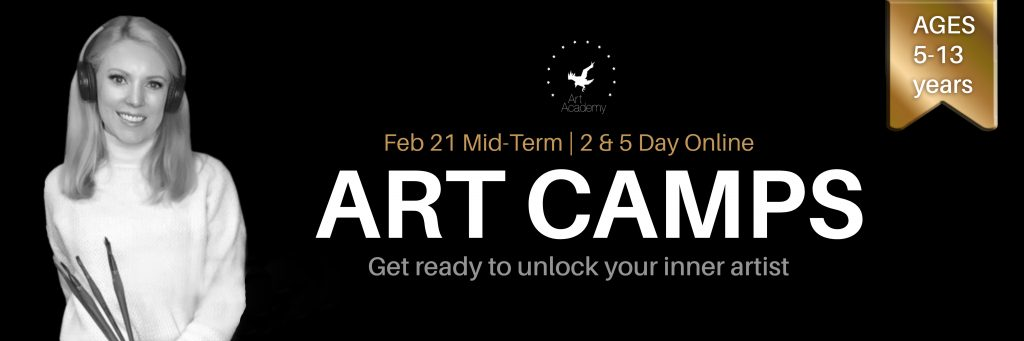 Art Academy Ireland's school break midterm break February 2021 online art classes for children