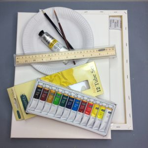 art materials pack for Art Academy Ireland online art class. Images shows artists acrylic paints, artists canvas, paint brush, pencil, rular, tube of paint, paper plate for paint mixing